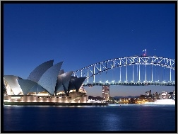 Sydney Opera House, Zatoka Port Jackson, Sydney, Australia, Most Sydney Harbour Bridge